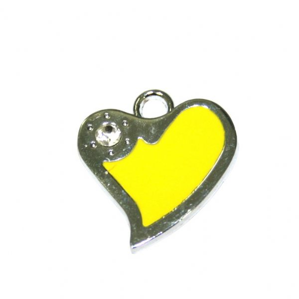 1 x 21*19mm rhodium plated yellow curved heart enamel charm with rhinestone - SD03 - CHE1269